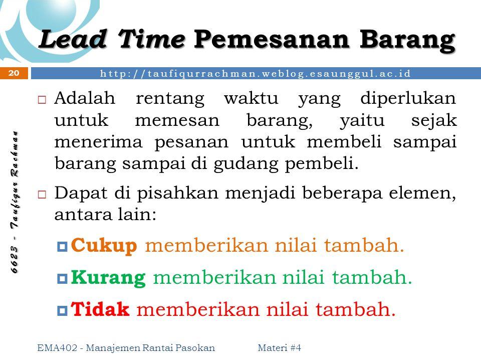 http://taufiqurrachman.weblog.esaunggul.ac.id 6 6 2 3 - T a u f i q u r R a c h m a n Lead Time Pemesanan Barang  Adalah rentang waktu yang diperluka