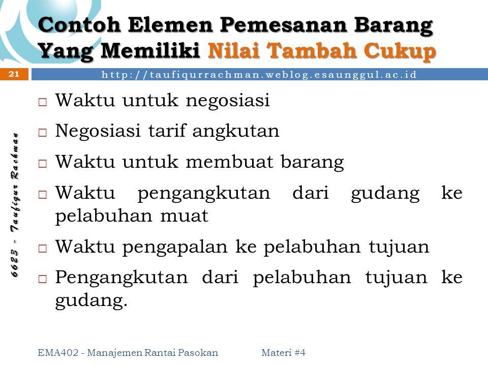 http://taufiqurrachman.weblog.esaunggul.ac.id 6 6 2 3 - T a u f i q u r R a c h m a n Contoh Elemen Pemesanan Barang Yang Memiliki Nilai Tambah Cukup