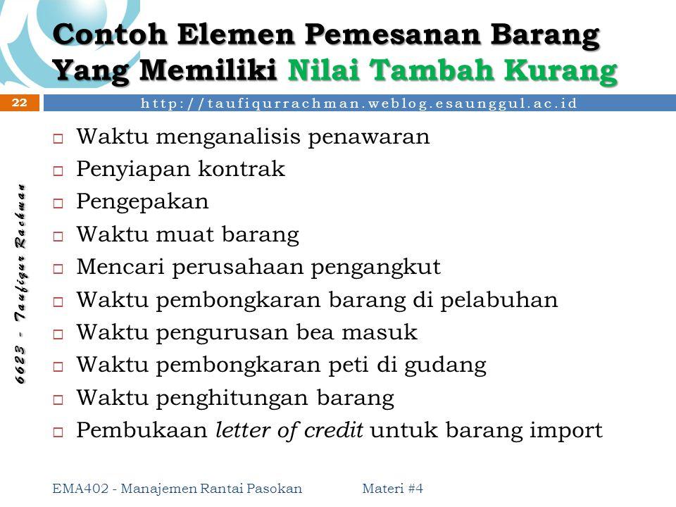 http://taufiqurrachman.weblog.esaunggul.ac.id 6 6 2 3 - T a u f i q u r R a c h m a n Contoh Elemen Pemesanan Barang Yang Memiliki Nilai Tambah Kurang