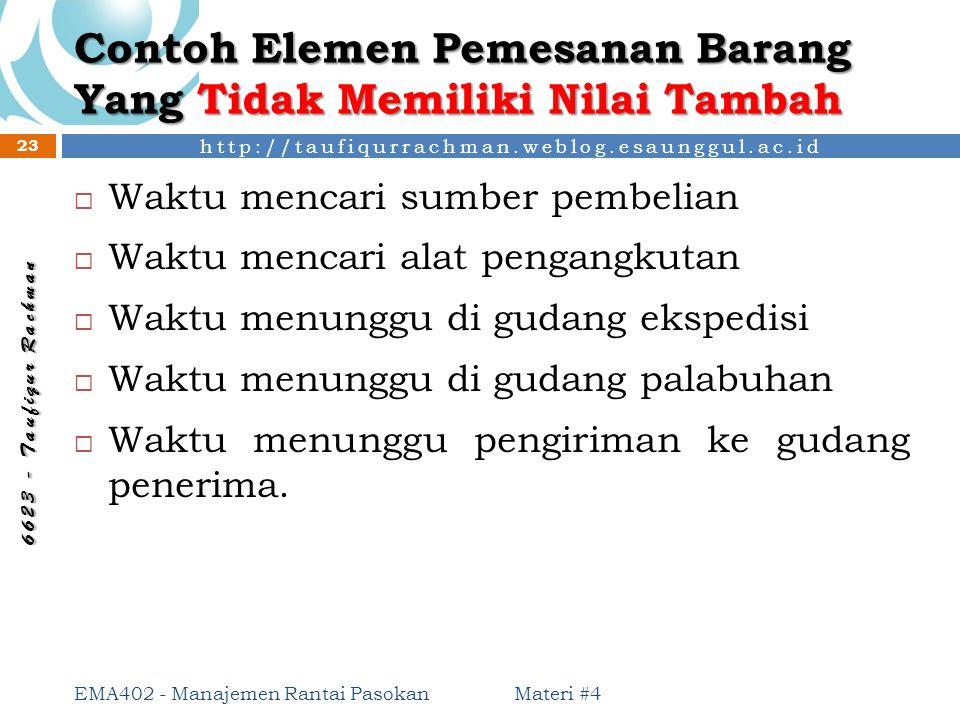 http://taufiqurrachman.weblog.esaunggul.ac.id 6 6 2 3 - T a u f i q u r R a c h m a n Contoh Elemen Pemesanan Barang Yang Tidak Memiliki Nilai Tambah
