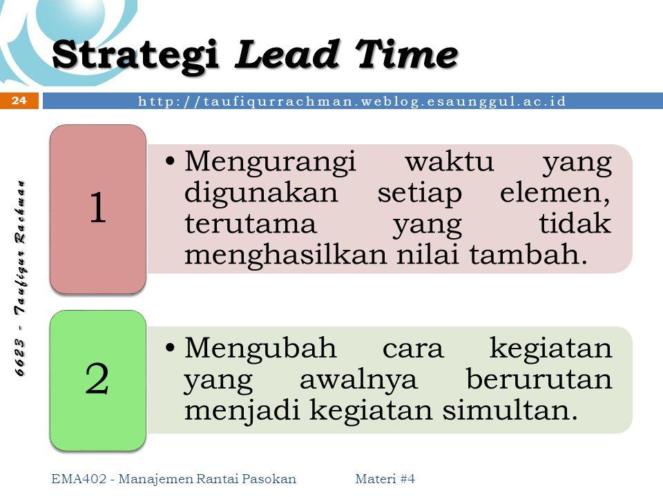 http://taufiqurrachman.weblog.esaunggul.ac.id 6 6 2 3 - T a u f i q u r R a c h m a n Strategi Lead Time Materi #4 EMA402 - Manajemen Rantai Pasokan 2