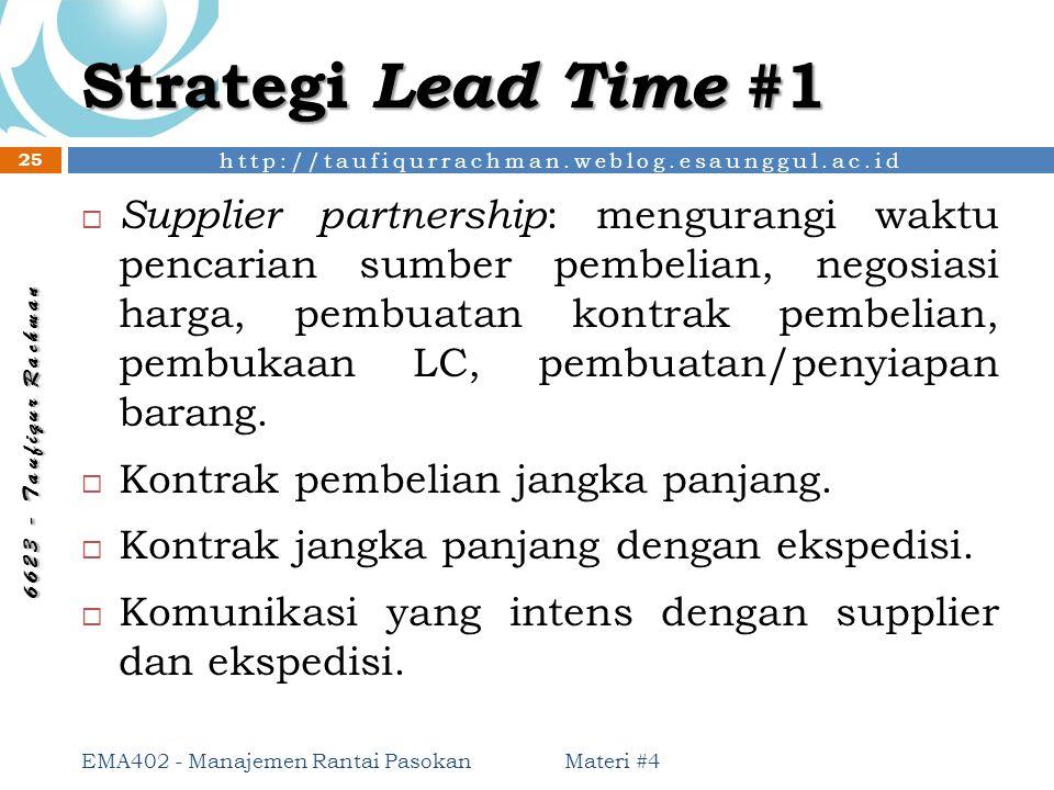 http://taufiqurrachman.weblog.esaunggul.ac.id 6 6 2 3 - T a u f i q u r R a c h m a n Strategi Lead Time #1 Materi #4 EMA402 - Manajemen Rantai Pasoka
