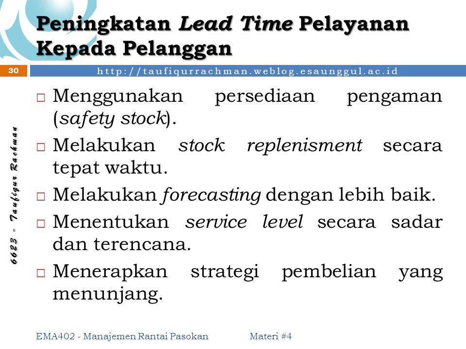 http://taufiqurrachman.weblog.esaunggul.ac.id 6 6 2 3 - T a u f i q u r R a c h m a n Peningkatan Lead Time Pelayanan Kepada Pelanggan Materi #4 EMA40