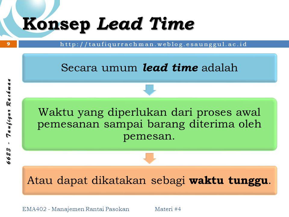http://taufiqurrachman.weblog.esaunggul.ac.id 6 6 2 3 - T a u f i q u r R a c h m a n Konsep Lead Time Materi #4 EMA402 - Manajemen Rantai Pasokan 9 S