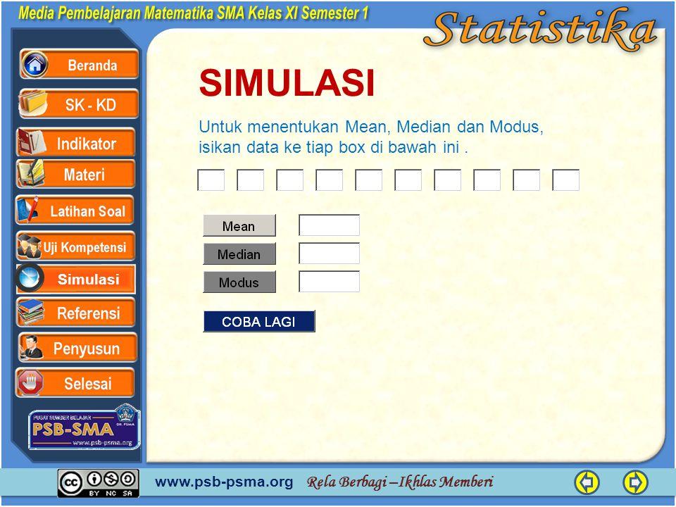www.psb-psma.org Rela Berbagi –Ikhlas Memberi Simulasi SIMULASI x Untuk menentukan Mean, Median dan Modus, isikan data ke tiap box di bawah ini.