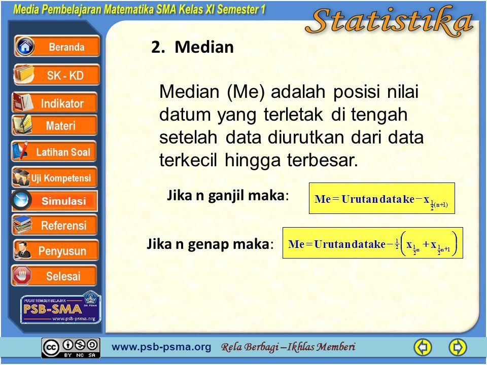 www.psb-psma.org Rela Berbagi –Ikhlas Memberi Simulasi 2. Median Median (Me) adalah posisi nilai datum yang terletak di tengah setelah data diurutkan