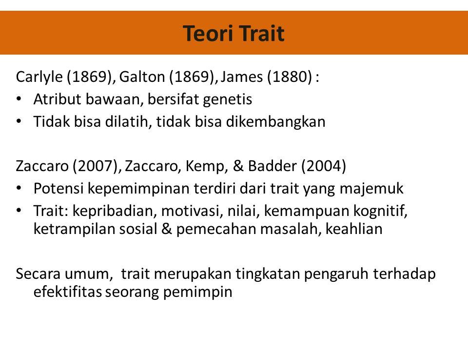 Carlyle (1869), Galton (1869), James (1880) : • Atribut bawaan, bersifat genetis • Tidak bisa dilatih, tidak bisa dikembangkan Zaccaro (2007), Zaccaro