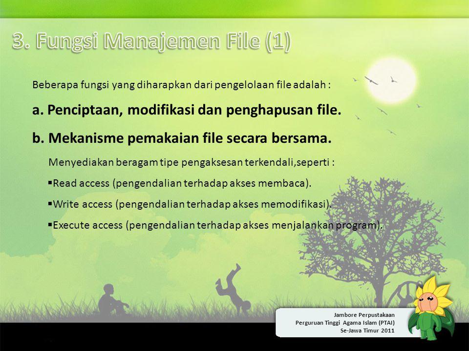 Beberapa fungsi yang diharapkan dari pengelolaan file adalah : a. Penciptaan, modifikasi dan penghapusan file. b. Mekanisme pemakaian file secara bers