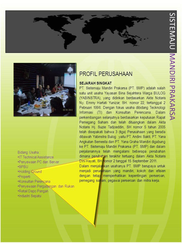 PROFIL PERUSAHAAN SEJARAH SINGKAT PT. Sistemaju Mandiri Prakarsa (PT. SMP) adalah salah satu unit usaha Yayasan Bina Sejahtera Warga BULOG (YABINSTRA)