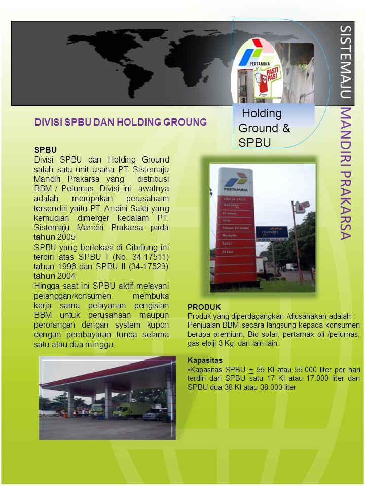 SISTEMAJU MANDIRI PRAKARSA SPBU Divisi SPBU dan Holding Ground salah satu unit usaha PT. Sistemaju Mandiri Prakarsa yang distribusi BBM / Pelumas. Div