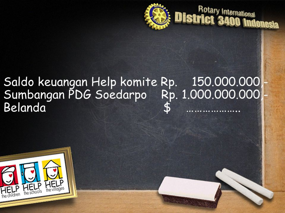Saldo keuangan Help komite Rp. 150.000.000,- Sumbangan PDG Soedarpo Rp. 1.000.000.000,- Belanda $ ………………..