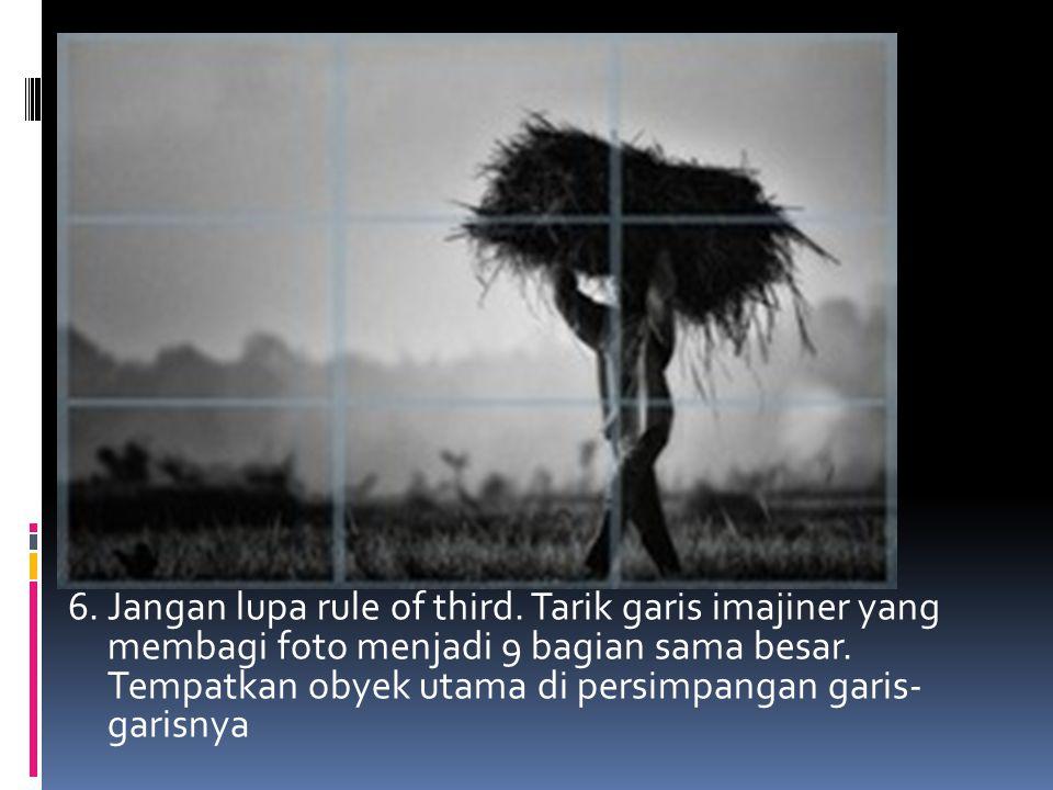 6.Jangan lupa rule of third. Tarik garis imajiner yang membagi foto menjadi 9 bagian sama besar.