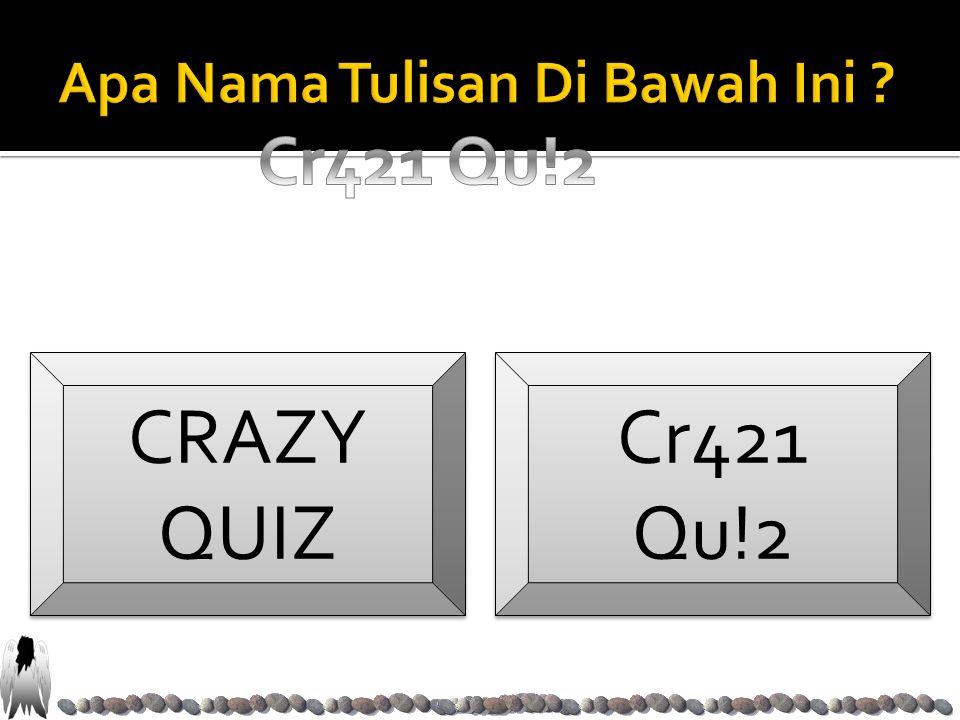 CRAZY QUIZ CRAZY QUIZ Cr421 Qu!2 Cr421 Qu!2