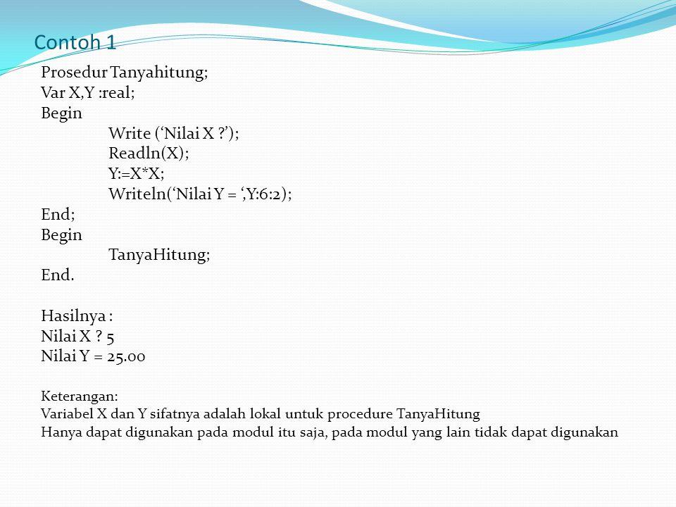 Contoh 1 Prosedur Tanyahitung; Var X,Y :real; Begin Write ('Nilai X ?'); Readln(X); Y:=X*X; Writeln('Nilai Y = ',Y:6:2); End; Begin TanyaHitung; End.