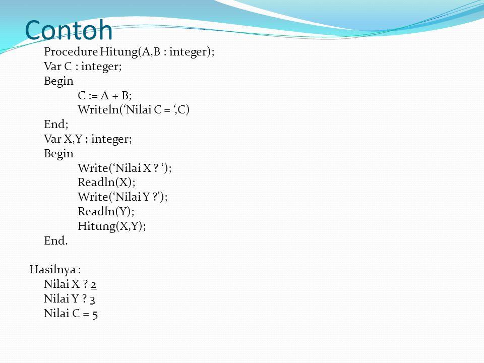 Contoh Procedure Hitung(A,B : integer); Var C : integer; Begin C := A + B; Writeln('Nilai C = ',C) End; Var X,Y : integer; Begin Write('Nilai X .