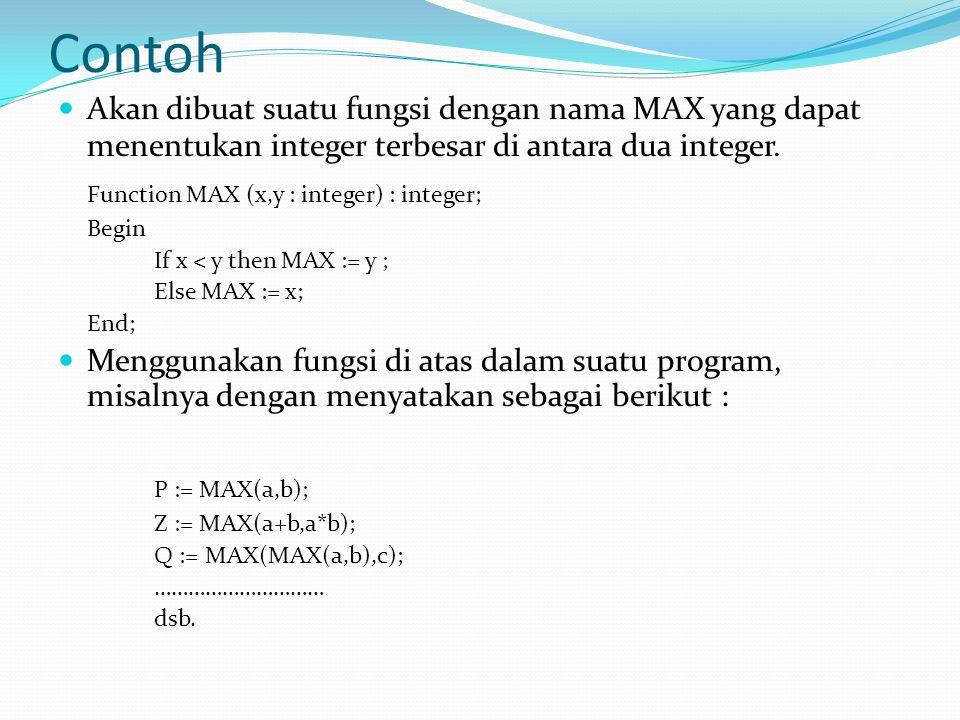 Contoh  Akan dibuat suatu fungsi dengan nama MAX yang dapat menentukan integer terbesar di antara dua integer.