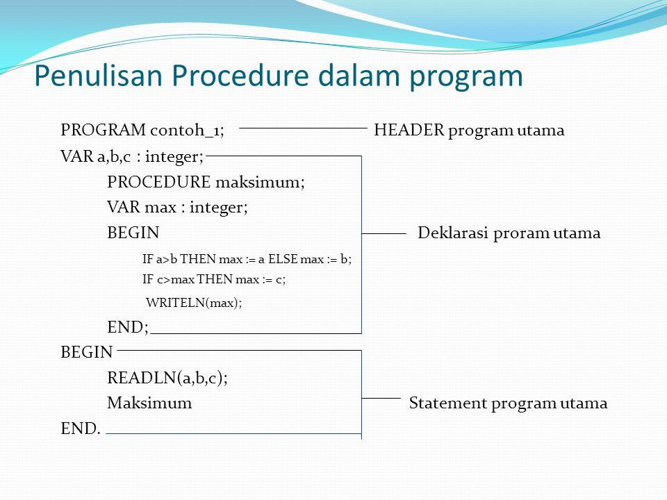 Penulisan Procedure dalam program PROGRAM contoh_1; HEADER program utama VAR a,b,c : integer; PROCEDURE maksimum; VAR max : integer; BEGIN Deklarasi proram utama IF a>b THEN max := a ELSE max := b; IF c>max THEN max := c; WRITELN(max); END; BEGIN READLN(a,b,c); Maksimum Statement program utama END.