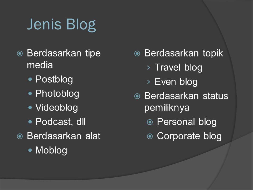 Jenis Blog  Berdasarkan tipe media  Postblog  Photoblog  Videoblog  Podcast, dll  Berdasarkan alat  Moblog  Berdasarkan topik › Travel blog › Even blog  Berdasarkan status pemiliknya  Personal blog  Corporate blog