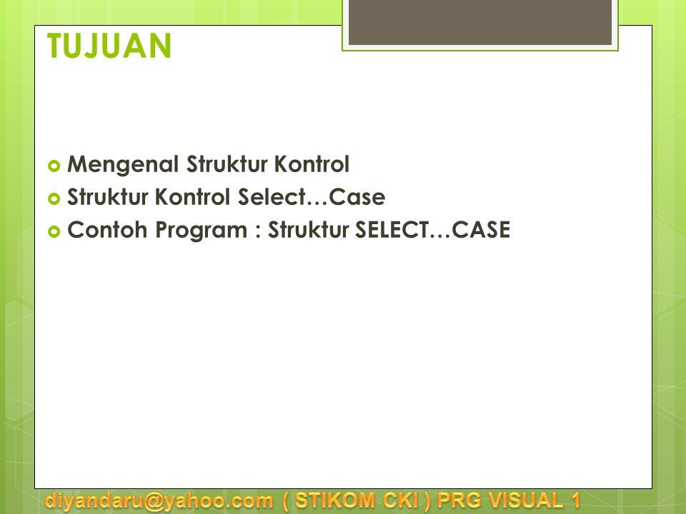 TUJUAN  Mengenal Struktur Kontrol  Struktur Kontrol Select…Case  Contoh Program : Struktur SELECT…CASE
