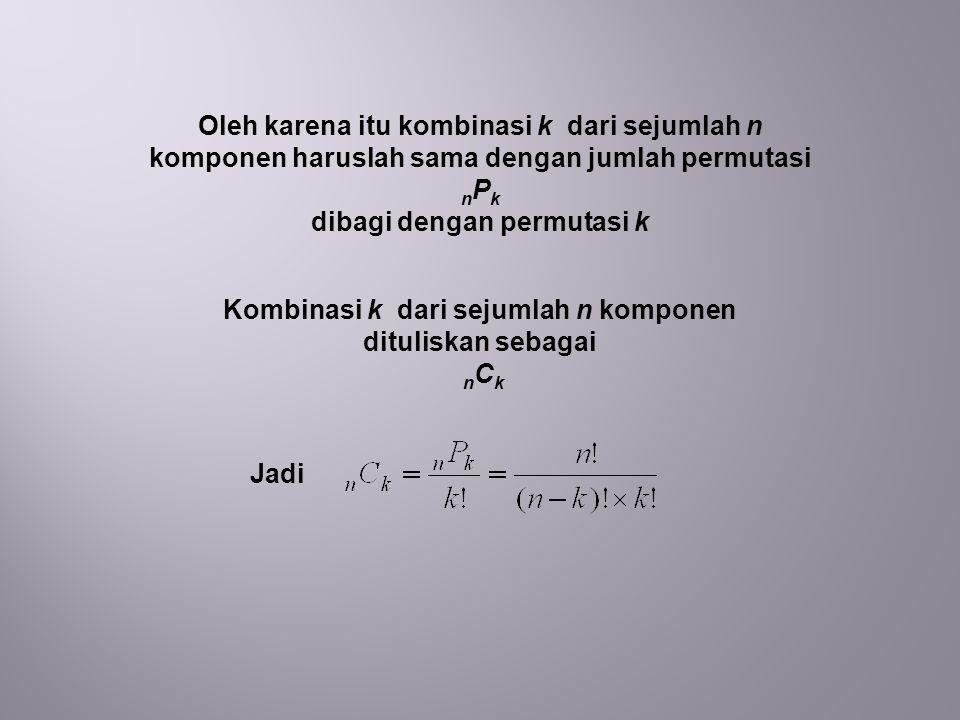 Oleh karena itu kombinasi k dari sejumlah n komponen haruslah sama dengan jumlah permutasi n P k dibagi dengan permutasi k Kombinasi k dari sejumlah n komponen dituliskan sebagai n C k Jadi