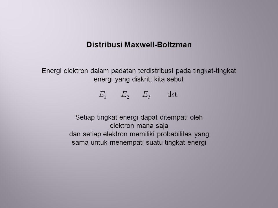Distribusi Maxwell-Boltzman Setiap tingkat energi dapat ditempati oleh elektron mana saja dan setiap elektron memiliki probabilitas yang sama untuk menempati suatu tingkat energi Energi elektron dalam padatan terdistribusi pada tingkat-tingkat energi yang diskrit; kita sebut