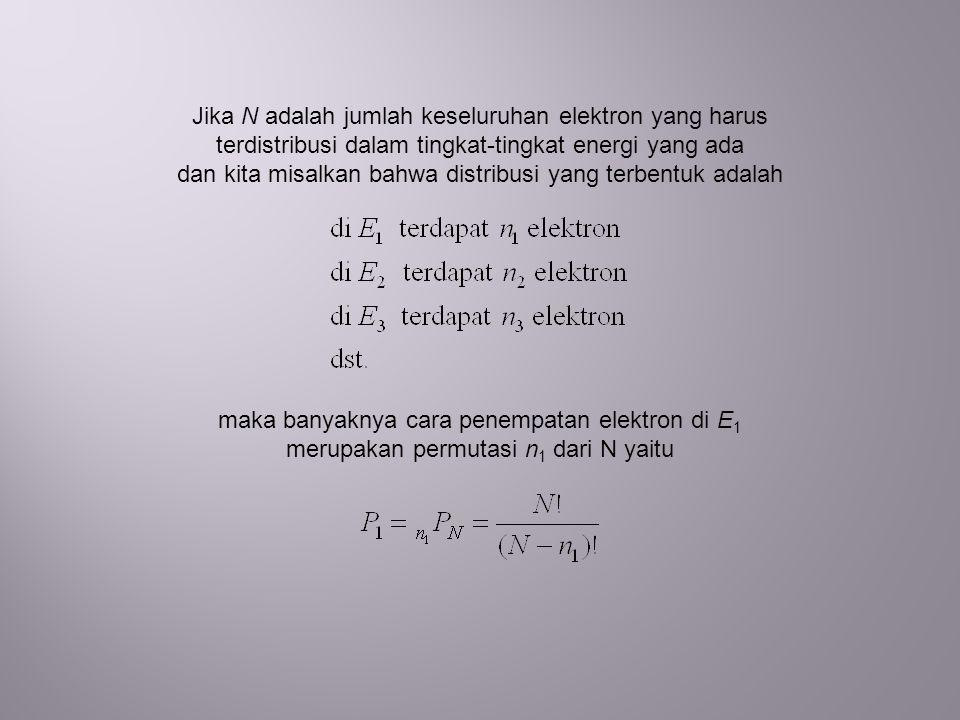 Jika N adalah jumlah keseluruhan elektron yang harus terdistribusi dalam tingkat-tingkat energi yang ada dan kita misalkan bahwa distribusi yang terbentuk adalah maka banyaknya cara penempatan elektron di E 1 merupakan permutasi n 1 dari N yaitu