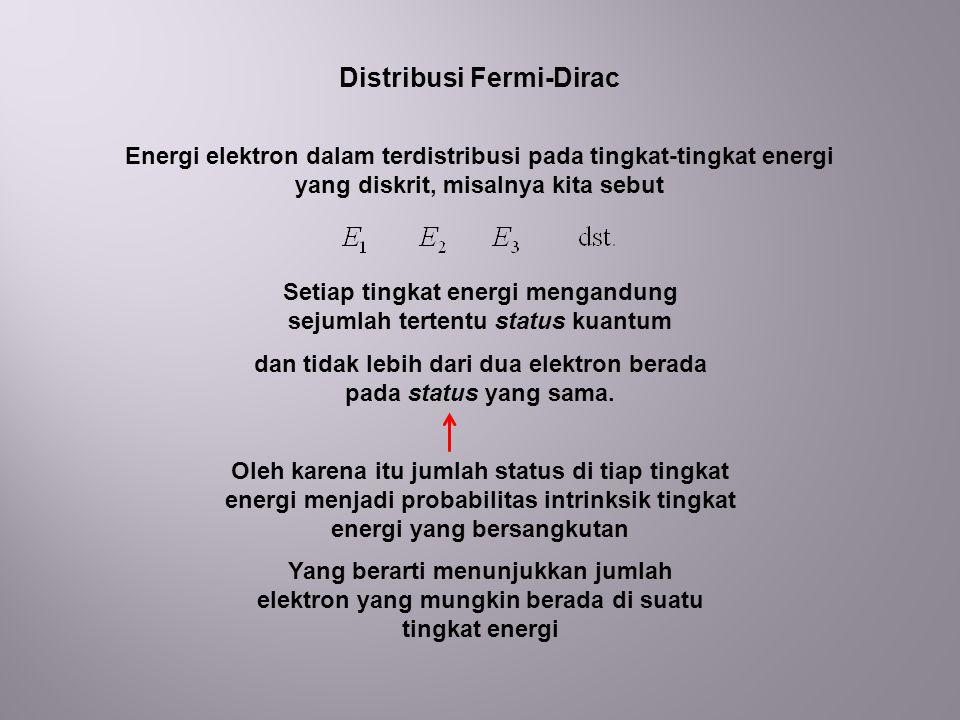Distribusi Fermi-Dirac Energi elektron dalam terdistribusi pada tingkat-tingkat energi yang diskrit, misalnya kita sebut Setiap tingkat energi mengandung sejumlah tertentu status kuantum dan tidak lebih dari dua elektron berada pada status yang sama.