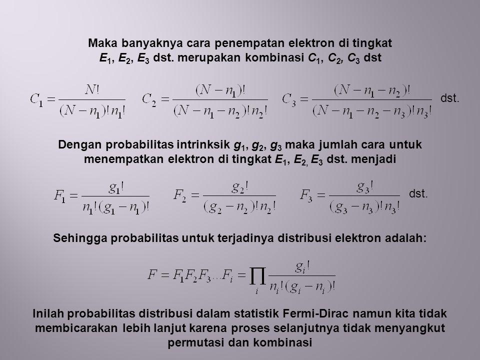 Sehingga probabilitas untuk terjadinya distribusi elektron adalah: Inilah probabilitas distribusi dalam statistik Fermi-Dirac namun kita tidak membicarakan lebih lanjut karena proses selanjutnya tidak menyangkut permutasi dan kombinasi Maka banyaknya cara penempatan elektron di tingkat E 1, E 2, E 3 dst.