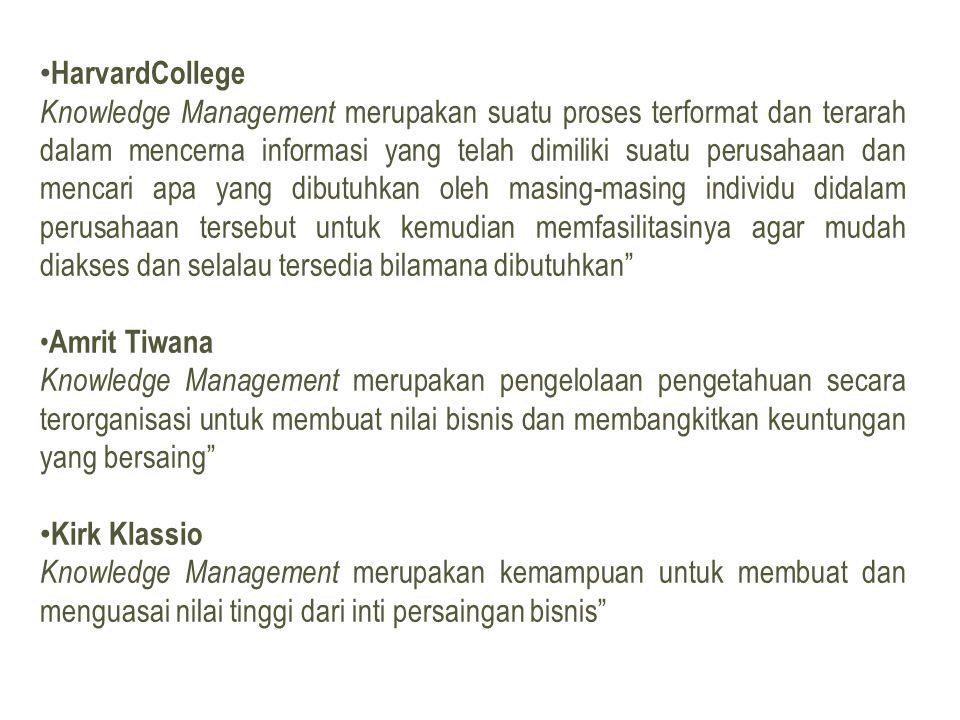 • HarvardCollege Knowledge Management merupakan suatu proses terformat dan terarah dalam mencerna informasi yang telah dimiliki suatu perusahaan dan mencari apa yang dibutuhkan oleh masing-masing individu didalam perusahaan tersebut untuk kemudian memfasilitasinya agar mudah diakses dan selalau tersedia bilamana dibutuhkan • Amrit Tiwana Knowledge Management merupakan pengelolaan pengetahuan secara terorganisasi untuk membuat nilai bisnis dan membangkitkan keuntungan yang bersaing • Kirk Klassio Knowledge Management merupakan kemampuan untuk membuat dan menguasai nilai tinggi dari inti persaingan bisnis