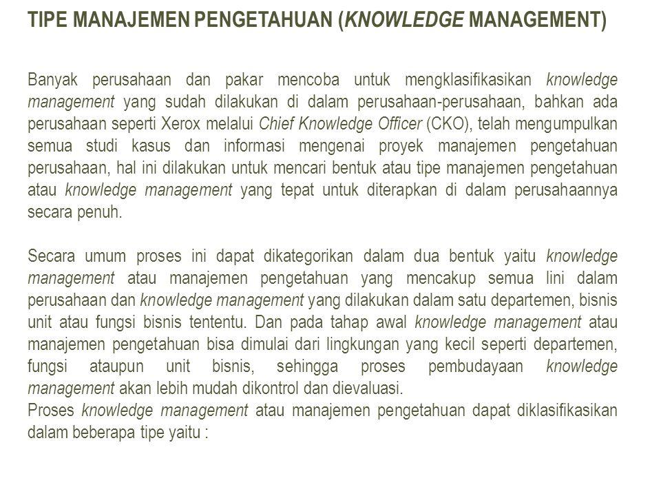TIPE MANAJEMEN PENGETAHUAN ( KNOWLEDGE MANAGEMENT) Banyak perusahaan dan pakar mencoba untuk mengklasifikasikan knowledge management yang sudah dilaku