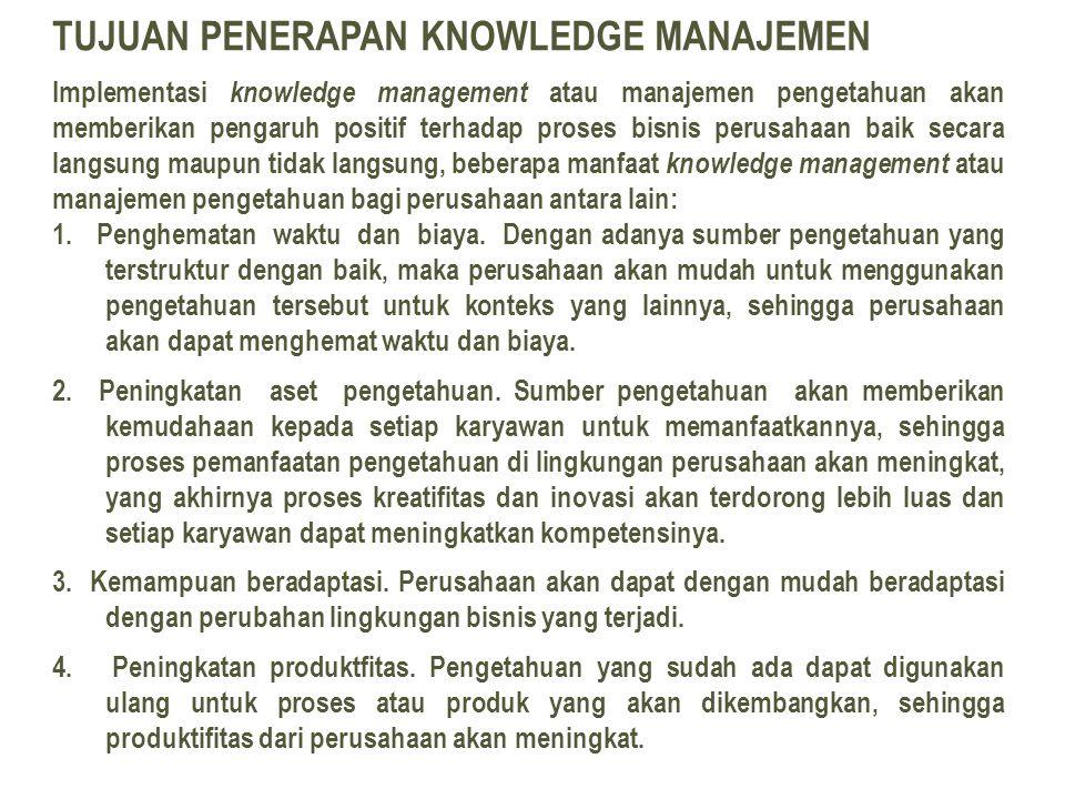 TUJUAN PENERAPAN KNOWLEDGE MANAJEMEN Implementasi knowledge management atau manajemen pengetahuan akan memberikan pengaruh positif terhadap proses bisnis perusahaan baik secara langsung maupun tidak langsung, beberapa manfaat knowledge management atau manajemen pengetahuan bagi perusahaan antara lain: 1.
