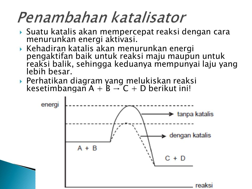  Suatu katalis akan mempercepat reaksi dengan cara menurunkan energi aktivasi.  Kehadiran katalis akan menurunkan energi pengaktifan baik untuk reak