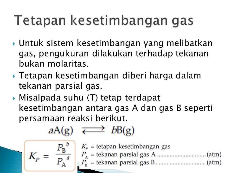 Untuk sistem kesetimbangan yang melibatkan gas, pengukuran dilakukan terhadap tekanan bukan molaritas.  Tetapan kesetimbangan diberi harga dalam te