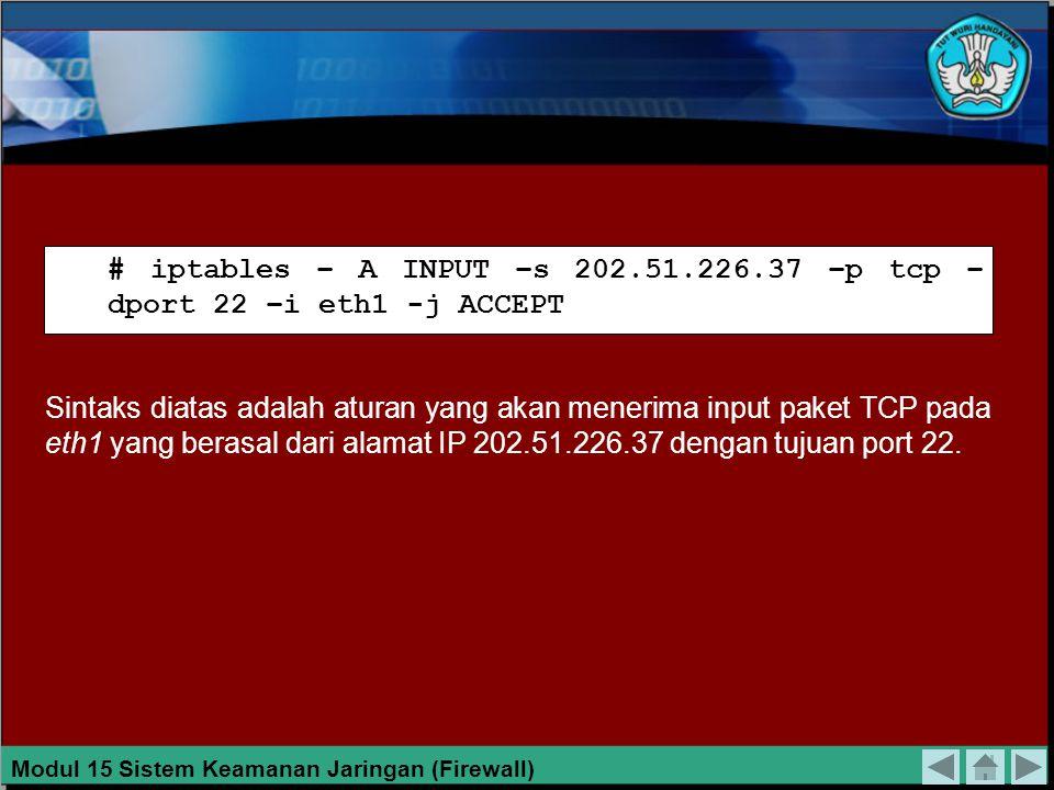 Maksud dari perintah di atas adalah sebagai berikut: 1.Firewall mengijinkan masuk untuk paket TCP yang punya tujuan port 22 melalui antarmuka eth1.