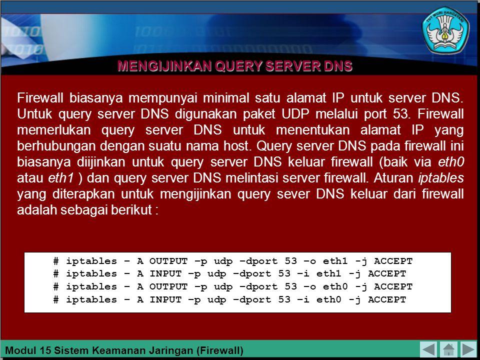 Perintah pertama dan kedua digunakan untuk mengijinkan akses http yang berasal dari jaringan privat, sedangkan perintah ketiga dan keempat digunakan untuk mengijinkan akses http yang berasal dari internet.