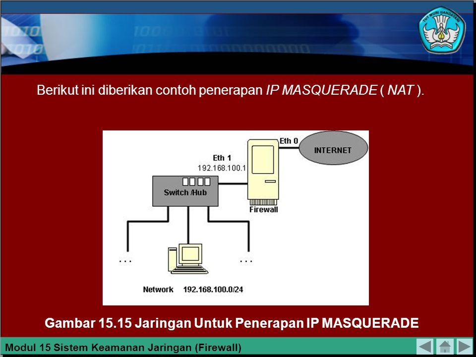 IP MASQUERADE IP MASQUERADE adalah salah satu bentuk translasi alamat jaringan ( NAT ), yang memungkinkan bagi komputer-komputer yang terhubung dalam jaringan lokal yang menggunakan alamat IP privat untu berkomunikasi ke internet melalui firewall.