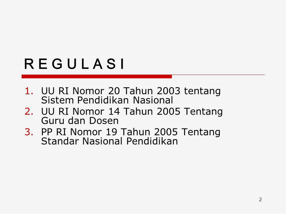 2 R E G U L A S I 1.UU RI Nomor 20 Tahun 2003 tentang Sistem Pendidikan Nasional 2.UU RI Nomor 14 Tahun 2005 Tentang Guru dan Dosen 3.PP RI Nomor 19 T