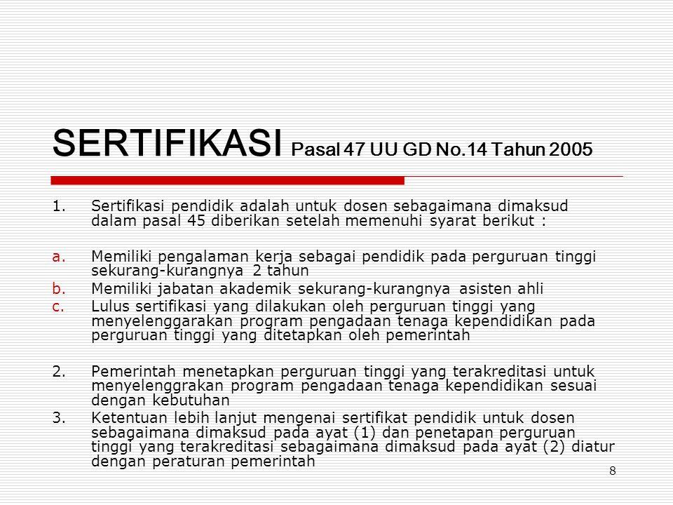 8 SERTIFIKASI Pasal 47 UU GD No.14 Tahun 2005 1.Sertifikasi pendidik adalah untuk dosen sebagaimana dimaksud dalam pasal 45 diberikan setelah memenuhi