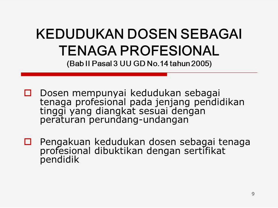 9 KEDUDUKAN DOSEN SEBAGAI TENAGA PROFESIONAL (Bab II Pasal 3 UU GD No.14 tahun 2005)  Dosen mempunyai kedudukan sebagai tenaga profesional pada jenja