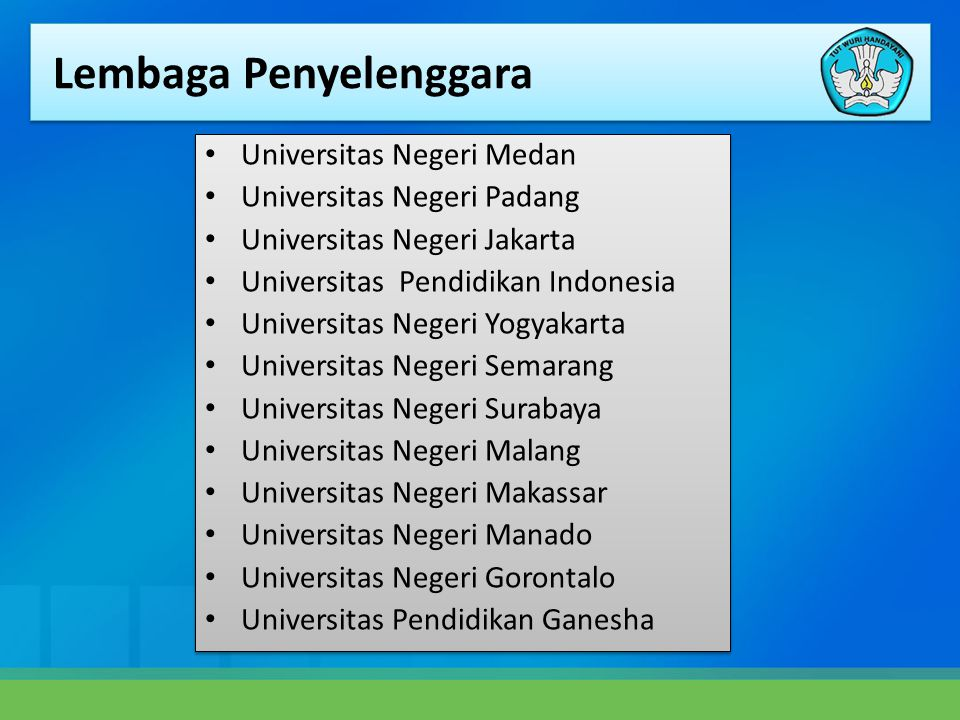 • Universitas Negeri Medan • Universitas Negeri Padang • Universitas Negeri Jakarta • Universitas Pendidikan Indonesia • Universitas Negeri Yogyakarta