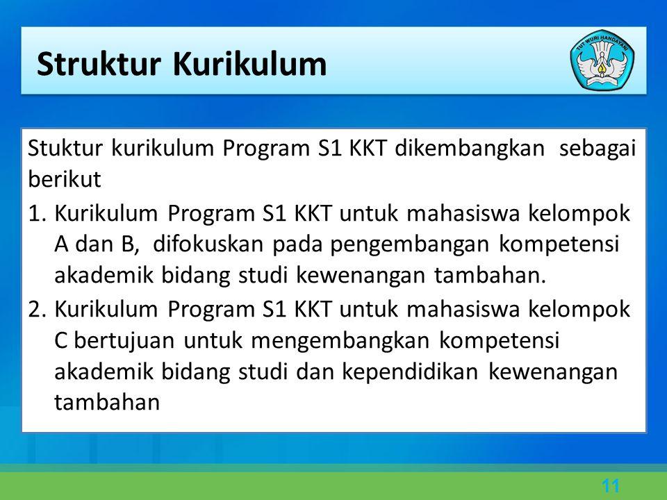 11 Stuktur kurikulum Program S1 KKT dikembangkan sebagai berikut 1.Kurikulum Program S1 KKT untuk mahasiswa kelompok A dan B, difokuskan pada pengembangan kompetensi akademik bidang studi kewenangan tambahan.