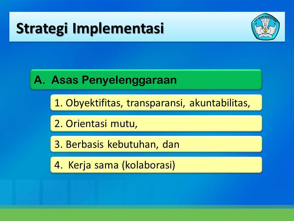 Strategi Implementasi 1. Obyektifitas, transparansi, akuntabilitas, 2. Orientasi mutu, 3. Berbasis kebutuhan, dan 4. Kerja sama (kolaborasi) A. Asas P