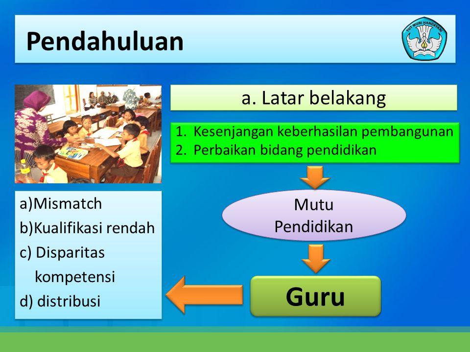 1.Kesenjangan keberhasilan pembangunan 2.Perbaikan bidang pendidikan 1.Kesenjangan keberhasilan pembangunan 2.Perbaikan bidang pendidikan a)Mismatch b)Kualifikasi rendah c) Disparitas kompetensi d) distribusi a)Mismatch b)Kualifikasi rendah c) Disparitas kompetensi d) distribusi Mutu Pendidikan Guru a.