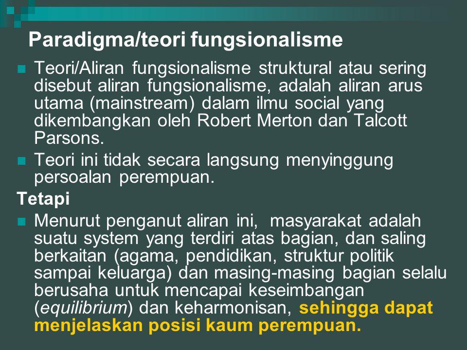 Paradigma/teori fungsionalisme  Teori/Aliran fungsionalisme struktural atau sering disebut aliran fungsionalisme, adalah aliran arus utama (mainstream) dalam ilmu social yang dikembangkan oleh Robert Merton dan Talcott Parsons.