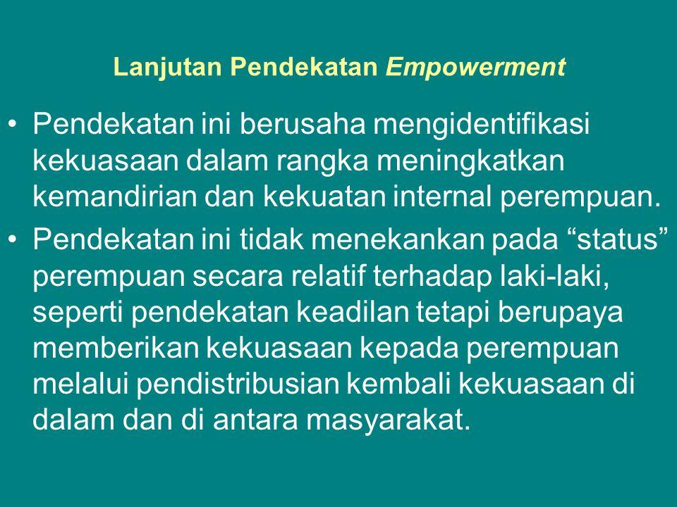 Lanjutan Pendekatan Empowerment •Pendekatan ini berusaha mengidentifikasi kekuasaan dalam rangka meningkatkan kemandirian dan kekuatan internal perempuan.