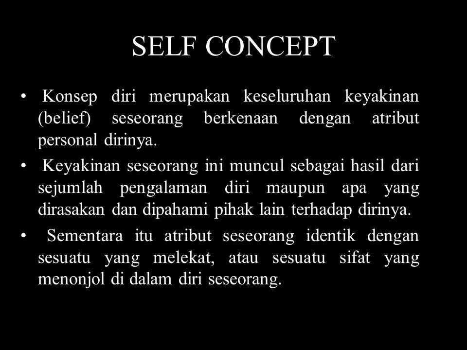 SELF CONCEPT • Konsep diri merupakan keseluruhan keyakinan (belief) seseorang berkenaan dengan atribut personal dirinya. • Keyakinan seseorang ini mun