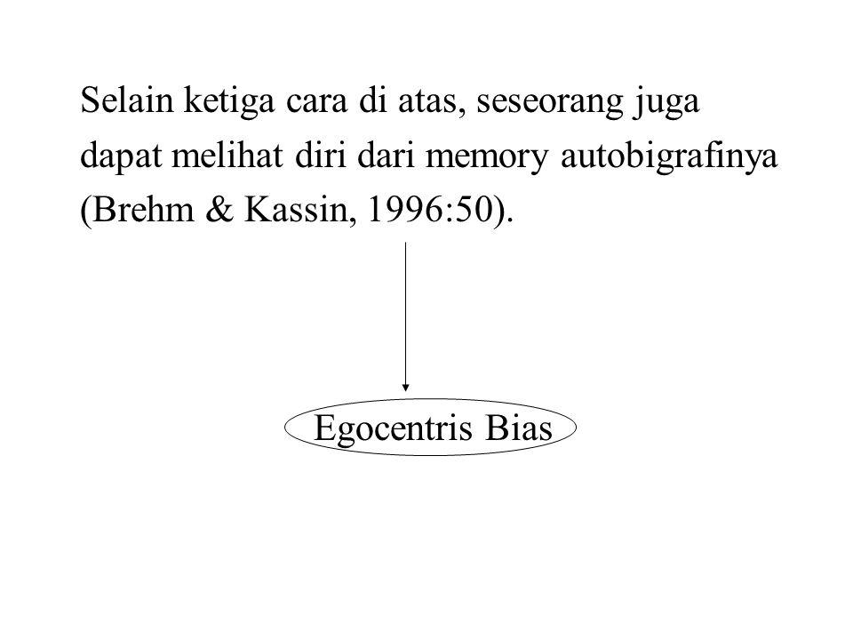 Selain ketiga cara di atas, seseorang juga dapat melihat diri dari memory autobigrafinya (Brehm & Kassin, 1996:50). Egocentris Bias