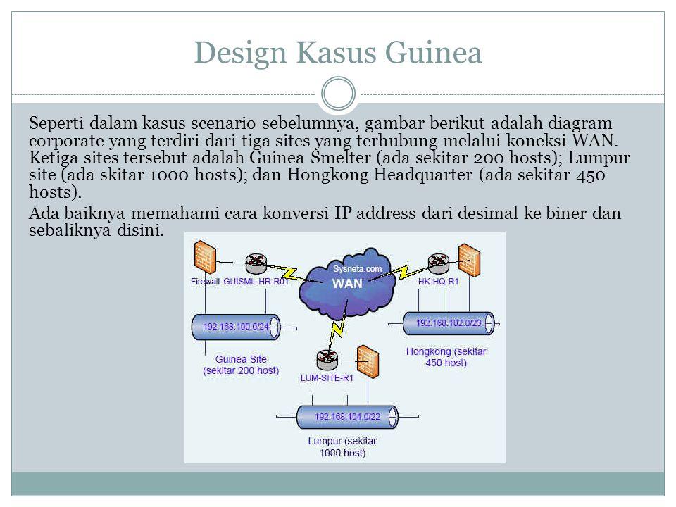 Design Kasus Guinea Seperti dalam kasus scenario sebelumnya, gambar berikut adalah diagram corporate yang terdiri dari tiga sites yang terhubung melal