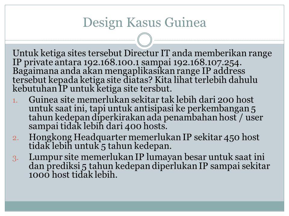 Design Kasus Guinea Untuk ketiga sites tersebut Directur IT anda memberikan range IP private antara 192.168.100.1 sampai 192.168.107.254. Bagaimana an