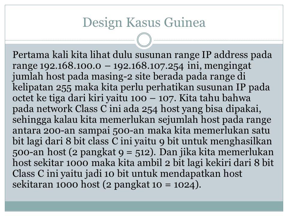 Design Kasus Guinea Pertama kali kita lihat dulu susunan range IP address pada range 192.168.100.0 – 192.168.107.254 ini, mengingat jumlah host pada m